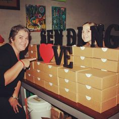Sending Love launch night. Setting up the giveaway monthly subscription gift hamper boxes. www.sendinglove.com.au