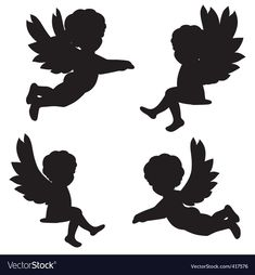 Find Set Vector Silhouettes Angels stock images in HD and millions of other royalty-free stock photos, illustrations and vectors in the Shutterstock collection. Thousands of new, high-quality pictures added every day. Engel Silhouette, Fairy Silhouette, Silhouette Portrait, Angel Vector, Angel Pictures, Paper Stars, Kirigami, Christmas Angels, Cherub