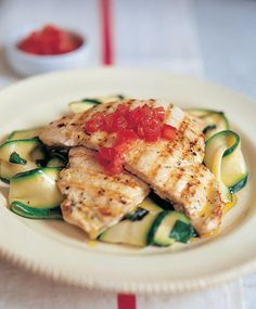 Grilled Marinated Chicken Breast with Courgette Ribbons - The Happy Foodie Light Chicken Recipes, Healthy Chicken Recipes, Light Recipes, Basil Chicken, Marinated Chicken, Turkey Dishes, Eat Smarter, Cooking Time, Zucchini