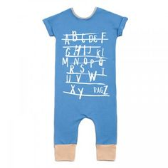Rags to Raches ABC Romper - Blue - Just as adorable and comfortable as other rompers, this Rags to Raches Romper features an alphabet print and short sleeves. BabyCubby.com