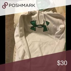 WomenUnder Armour Sweatshirt Women  small, probably fits teens or a small womans, color is white & green. It is like new, very good condition! Under Armour Tops Sweatshirts & Hoodies