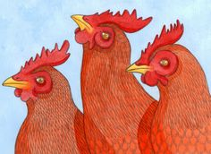 Three French Hens, illustration created for www.minirice.co.uk © Emma Cowley all rights reserved