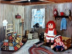 Raggedy Ann Andy quilt original folk art print The by jagartist