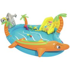 The Bestway Sea Life Play Centre features a fun slide, an inflatable ball ramp and an inflatable ring toss game. Water Play Toys, Play Pool, Kid Pool, Coban, Outdoor Play Equipment, Safety Valve, Play Centre, Baby Kind, Water Slides