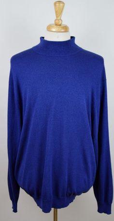 men's Jos A Bank solid blue long sleeve 100% silk turtle neck XXL 2XL sweater #JosABank #Turtleneck