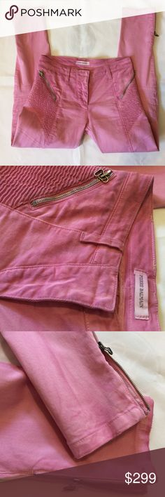 Women's Pants Pierre Balmain, size40(us26), made in Italy, color:pink, worn in great condition, cotton/spandex Pierre Balmain Pants Skinny