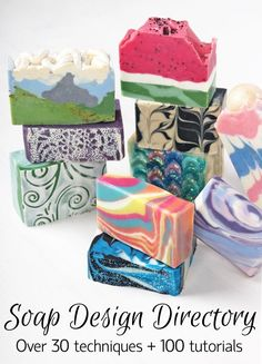 This Cold Process Soap Design Directory includes over 100 tutorials for various soap techniques! #soapmakingbusiness