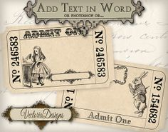 Alice in Wonderland editable Invitation Tickets printable images digital collage sheet VD0404