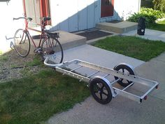 Borrowing the trailer for some haulin'. Work Trailer, Trailer Hitch, Cargo Trailers, Camper Trailers, Bike Cart, Velo Design, Velo Cargo, Materiel Camping, Bicycle Decor