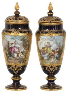 Decorative Urns Vases Photo Of Pair French Empire Porcelain Cherub Amphora Urns Vases