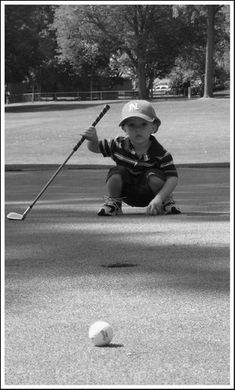 Lining up an important putt.