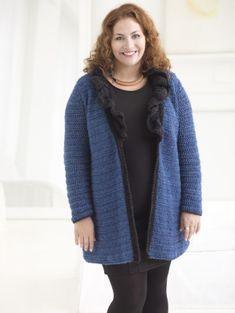 Free Crochet Pattern L50106 Curvy Girl Ruffled Collar Cardigan : Lion Brand Yarn Company