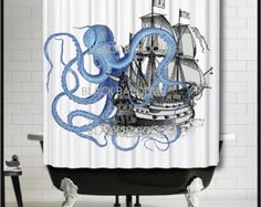 Blue Octopus attacking Galleon Ship Shower Curtain