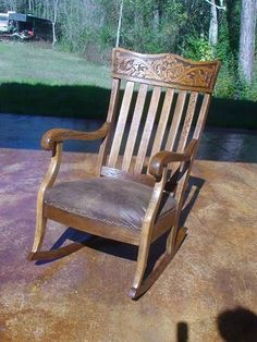 Antique Oak Wind Face Rocking Chair Hand-carved Quartersawn 1800's