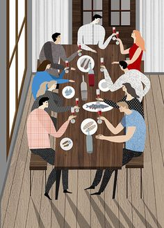 Illustration, people, picnic, dinner in Illustration