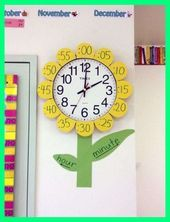Classroom Clock Decor and Upgrade Ideas - WeAreTeacehrsYou can find Classroom decor and more on our website.Classroom Clock Decor and Upgrade Ideas - WeAreTeacehrs Classroom Clock, Kindergarten Classroom Decor, Diy Classroom Decorations, Classroom Setting, Classroom Setup, Classroom Design, Future Classroom, Classroom Board, Class Decoration Ideas
