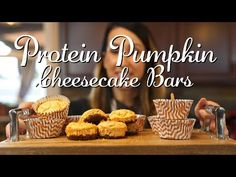 Pumpkin Cheesecake Protein Bars - YouTube Pumpkin Cheesecake, Protein Bars, Kara, Cooking, Breakfast, Healthy, Fitness, Youtube, Food