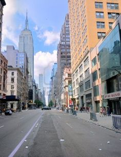 """NYC.  5th Avenue looking north with the """"Entire Street Building""""  // Royalty Free Stock Photo"""