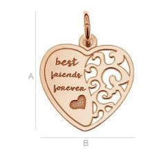 SILVER PENDANT BEST FRIEND HEART - LK-0401 SIZE:A=17,50 mm; B=14,00 mm, sterling silver (AG-925)  Available options: AG 925 (18K- Rose Gold Plated) AG 925 (24K- Gold Plated) AG925 ( BRH- Black Rhodium Plated) AG 925 (RH- Rhodium Plated)