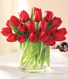 red tulip centerpieces for luncheon