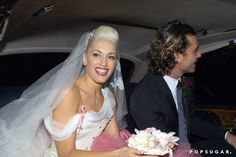 Pin for Later: The Ultimate Celebrity Wedding Gallery  Gwen Stefani wore a white and pink gown for her London nuptials to Gavin Rossdale in September 2002.