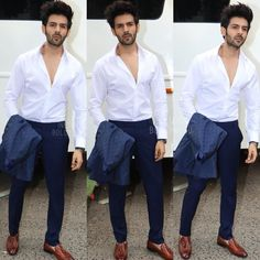 Hotness Personified 💥 Kartik Aaryan all set for Sonu Ke Titu Ki Sweety promotions ❤ ❤ ❤ . Bollywood Photos, Bollywood Stars, Bollywood Celebrities, Indian Bollywood, Suit Fashion, Boy Fashion, Mens Fashion, Formal Men Outfit, Formal Outfits