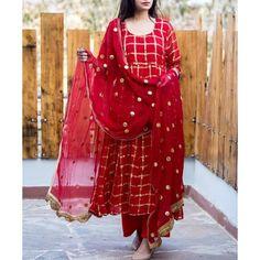 Beautiful red color cotton self design semi stitched long salwar suit. Punjabi Dress, Pakistani Dresses, Indian Dresses, Indian Outfits, Punjabi Suits, Anarkali Suits, Cotton Anarkali, Salwar Designs, Blouse Designs