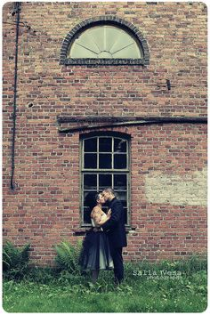 by Salla Vesa # photography portrait wedding bridal love couple posing wall window