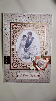 Scrap-Raj: Открытка свадебная в коричневых тонах.