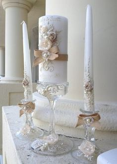Gorgeous Wedding Unity Candle Set 3 Candles And Gl Candleholders Hand Decorated With Burlap Lace Roses Bows Pearls In Ivory