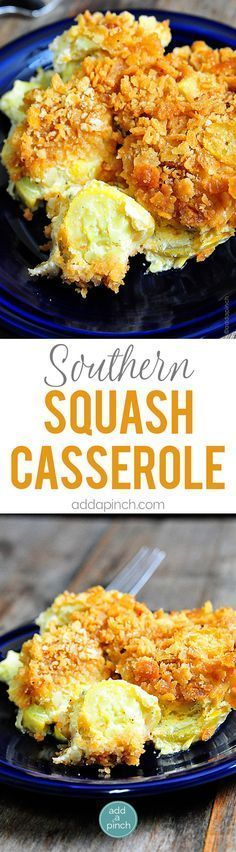 Southern Squash Casserole - Squash Casserole is an essential dish for holidays and special events. Topped with a buttery cracker topping, this squash casserole is an all-time favorite! // http://addapinch.com