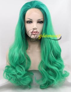 Riglamour Long Turquoise Ombre Green Wig Cosplay Heat Resistant 100% Fiber Hair Synthetic Lace Front Wigs for Women Half Hand Tied Body Wave