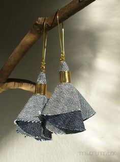Fashion elegant urban dangle denim earrings. Blue jeans textile, gold colored hooks. Ready to ship