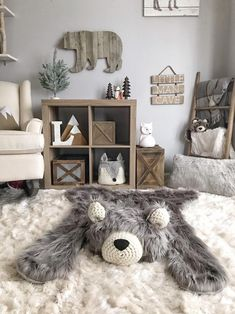 Baby Boy Rooms, Baby Boy Nurseries, Baby Girls, Baby Bedroom, Nursery Bear Rug, Animal Theme Nursery, Grey Nursery Boy, Nursery Décor, Animal Rug