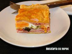 Placinta cu sunca si oua - Bucataria cu noroc Spanakopita, Sandwiches, Ethnic Recipes, Paninis