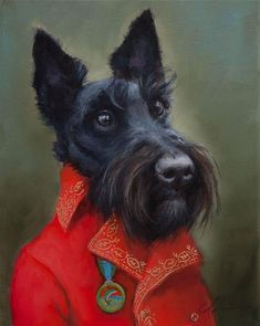 """Daily Paintworks - """"Angus"""" - Original Fine Art for Sale - © Clair Hartmann Little Black Dog, Animals And Pets, Cute Animals, Donia, Pet Costumes, Animal Heads, Dog Paintings, Dog Portraits, Whimsical Art"""