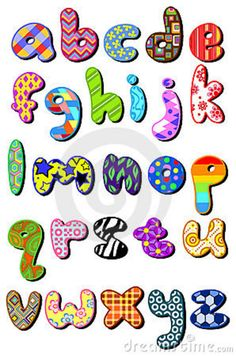 Illustration of Colorful patterned lower case alphabet set vector art, clipart and stock vectors. Alphabet Design, Alphabet Images, Alphabet Templates, Alphabet And Numbers, Cliparts Free, Free Vector Clipart, Art Clipart, Alphabet Police, Lettering Design