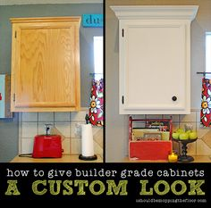How to add crown moulding to builder-grade cabinetry. Take your kitchen from blah to BAM!