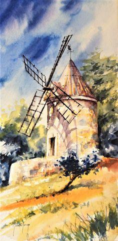 Watercolor by Didier GEORGES / Aquarelle en Provence Lubéron
