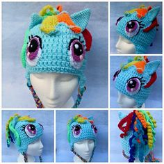 3a7622ab2411 My Little Pony- Rainbow Dash crochet hat from Mistybelle Crochet. I will  probably never actually make this but it is awesome and I would have when my  ...