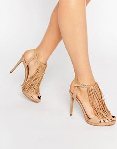 Kendall & Kylie   Kendall & Kylie Aries Nappa Leather Fine Fringed Heeled Sandals at ASOS
