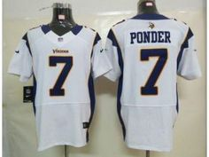 Nike NFL Elite Vikings #7 Christian Ponder White Men's Stitched Jersey