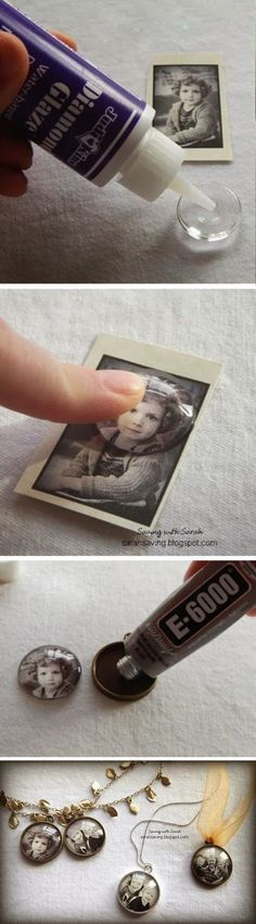 DIY Photo Pendants. These photo pendants are actually really cheap (less than $2.50 each). Would be so fun to compare the pictures from year to year.