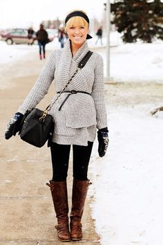 Winter Style - Gray wool wrap sweater, black leggings, brown leather riding boots, black accessories