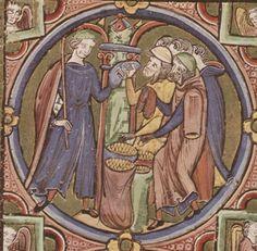 Bible moralisée  - Biblia historica-allegorica iconologica Veteris Testamenti cum textu marginali gallico. 2. Viertel 13. Jhdt. (1225-1249) Cod. 2554 Folio 31