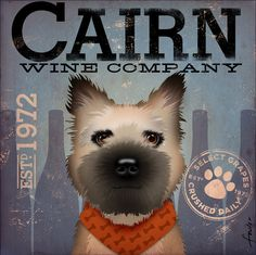 Cairn Terrier Winery company original graphic by geministudio, $80.00