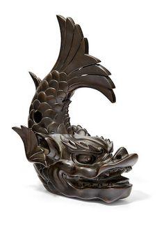 A Bronze koro (incense burner) in the form of a shachihoko (dragon fish) Meiji era late century Japanese Dragon, Japanese Art, Korean Art, Asian Art, Dragon Fish, Meiji Era, Dragon Design, Incense Burner, Metal Working