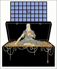 The Seven Deadly Sins Avarice  by Erte  Giclee Canvas Print Repro