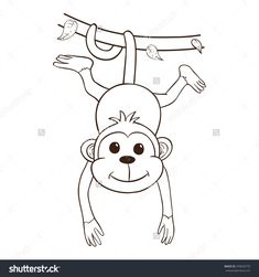 Cute Girl Monkey Outline Cartoon monkey stock photos images ...