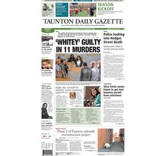 The front page of the Taunton Daily Gazette for Tuesday, Aug. 13, 2013.